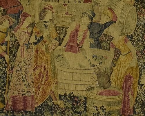 B1278 - Superb Vintage French Printed Linen Wall Hanging After  'Les Vendanges' de Cluny