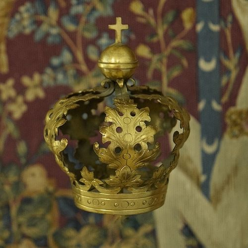 B1281 - Gorgeous Antique French Repousse Brass Religious Statue Crown / Couronne, 19th C