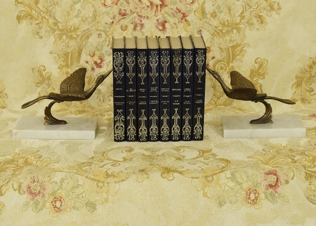 B1282 - Absolutely Stunning Pair Antique French Flying Stork Bronze & Marble Bookends