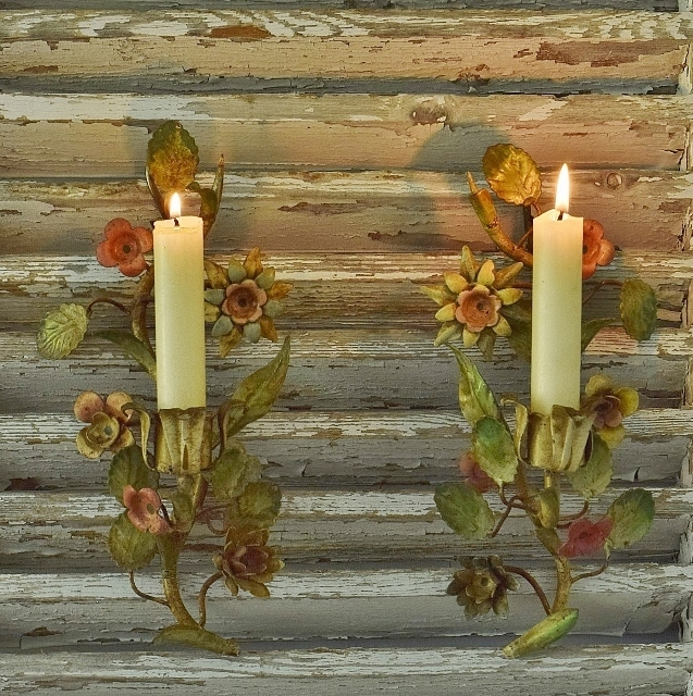 B1283 - Heavenly Pair Antique Italian Candle Wall Sconces With Delicate Flowers & Leaves