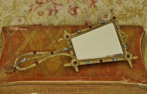 B1286 - Amazing Antique French 'Jewelled' & Gilded Hand Mirror, Bevelled Glass, 19th C