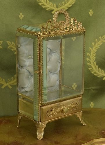 B1291 - Fabulous Antique French Glass Watch Stand, Display Armoire / Casket, Silk Lining