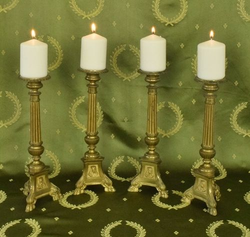 B1295 - Rather Splendid SET 4 Antique French Brass Church Pricket Candlesticks 19th Century