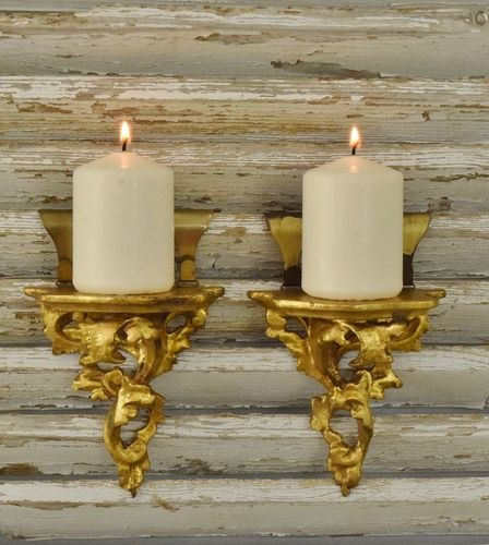 B1296 - Gorgeous Pair Small Vintage Italian Baroque Style Papier Mache Gilded Plinths