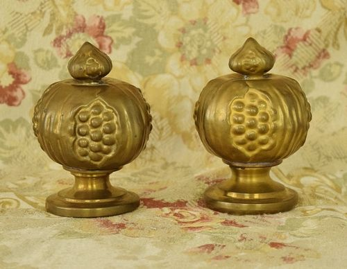 B1302 - Fabulous Pair Antique French Repousse / Toleware Curtain Pole Finials, 19th Century