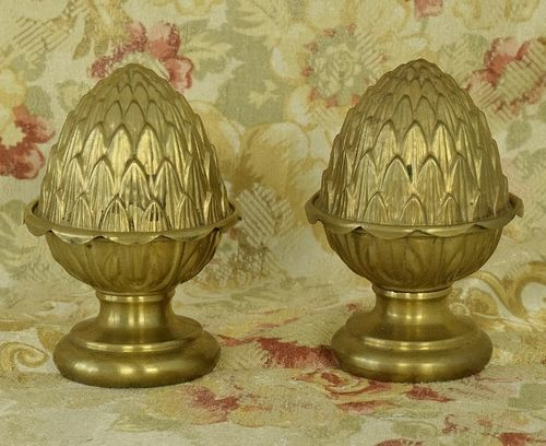 B1301 - Superb Pair Antique French Repousse Acorn Curtain Pole Finials, Chateau Chic