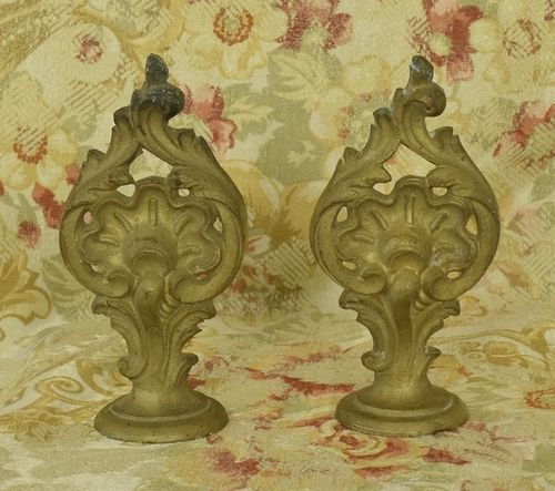 B1306 - Stunning Pair Antique French Gilded Metal Chateau Curtain Pole Finials, 19th Century