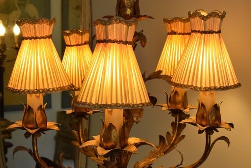 B1309 - Delicious Set 5 Antique French Pleated Silk Chandelier Lampshades, Pretty Shape