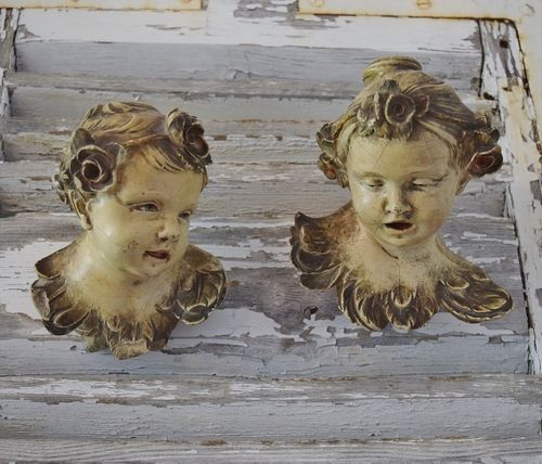 B1311 - Sublime Pair Antique French Art Nouveau Painted Terracotta Cherub Children Busts