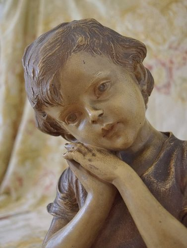 B1315 - Charming Antique French Plaster Bust, Child at Evening Prayer, 'Prière Du Soir'