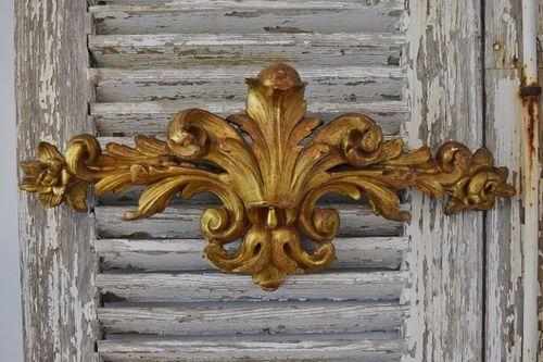 B1317 - Fantastic Antique French Carved Wood Gilded Mount, Pediment, Ciel de Lit, 18th C