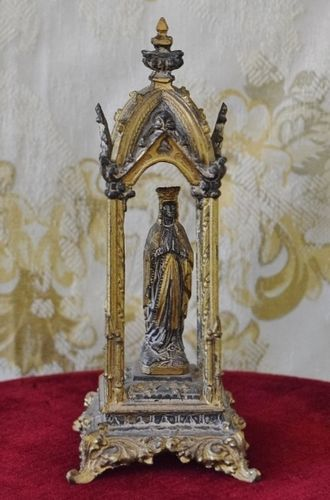 B1316 - Divine Antique French Gilded Spelter Virgin Mary, Madonna Religious Altar 19th Century