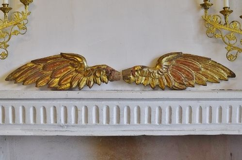 B1320 - Spectacular Pair Antique Italian Carved Wood Water Gilded Angel's Wings, 18th Century