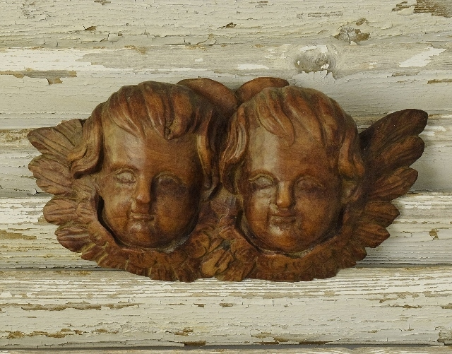 B1322 - Heavenly Antique French Church Winged Cherubs / Angels, Carved Wood 19th C