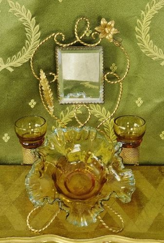 B1327 - Divine Antique French Toleware Jewellery /Trinket Stand With Mirror & Glass Bowl