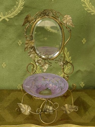 B1329 - Sublime Antique French Toleware Jewellery /Trinket Stand, Mirror & Glass Bowl