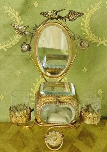 B1328 - Amazing Antique French Toleware Jewellery /Trinket Stand, Mirror & Glass Casket