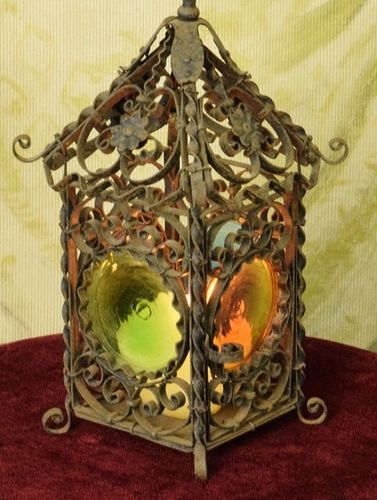 B1334 - Amazing Decorative Antique French Wrought Iron & Stained Glass Candle Lantern