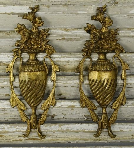 B1339 - Stunning PAIR Antique French Gilded Ormolu Mounts / Embellishments Urn & Flowers