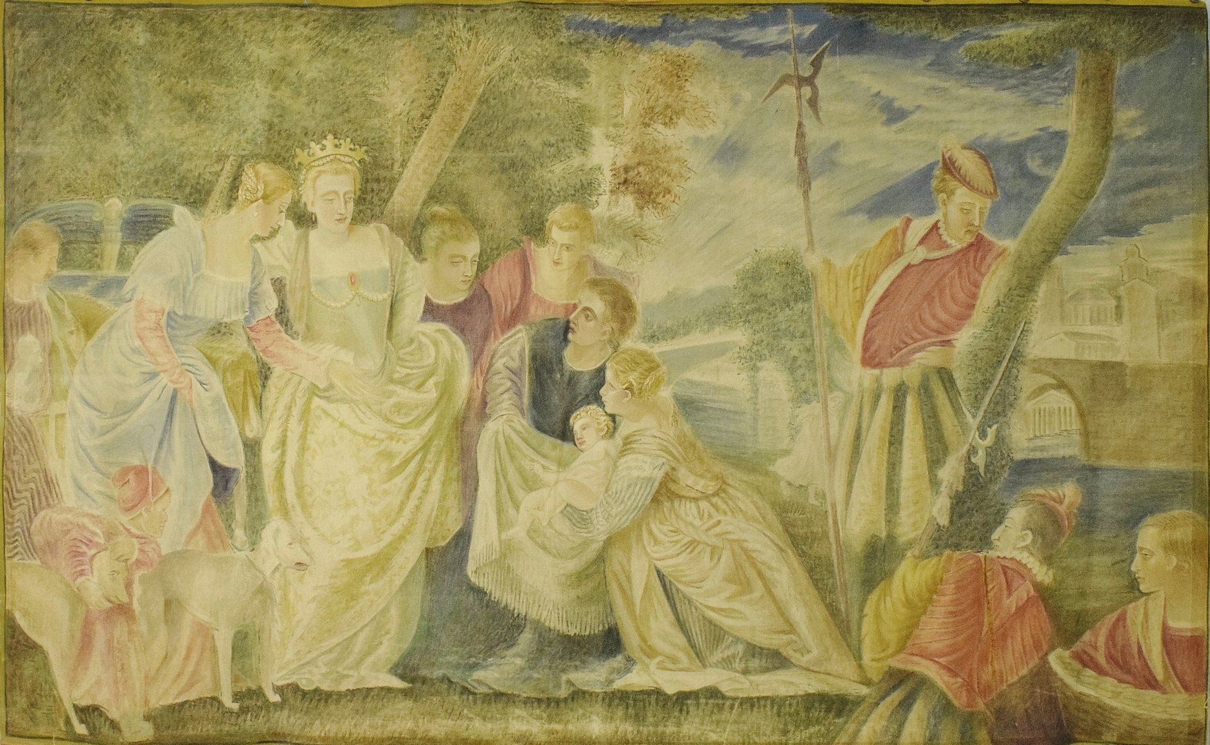B1340 - Superb Large Antique French Painted Mural Wall Hanging, After Paolo Veronese