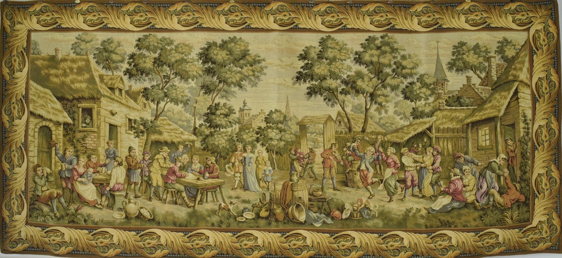 B1361 - Amazing Wide Vintage French Tapestry Wall Hanging, Detailed 18th C Village Scene