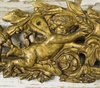 B1381 - Exquisite Antique French Gilded Mount, Winged Cherubs / Fairies, Flower Garlands