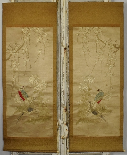 B1401 - Spectacular PAIR Rare Antique 19th C Hand Embroidered Chinese Silk Wall Hangings